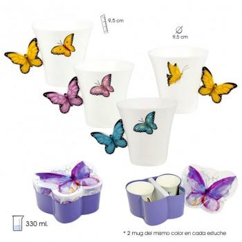 Mugs set 2 unds Mariposa +...